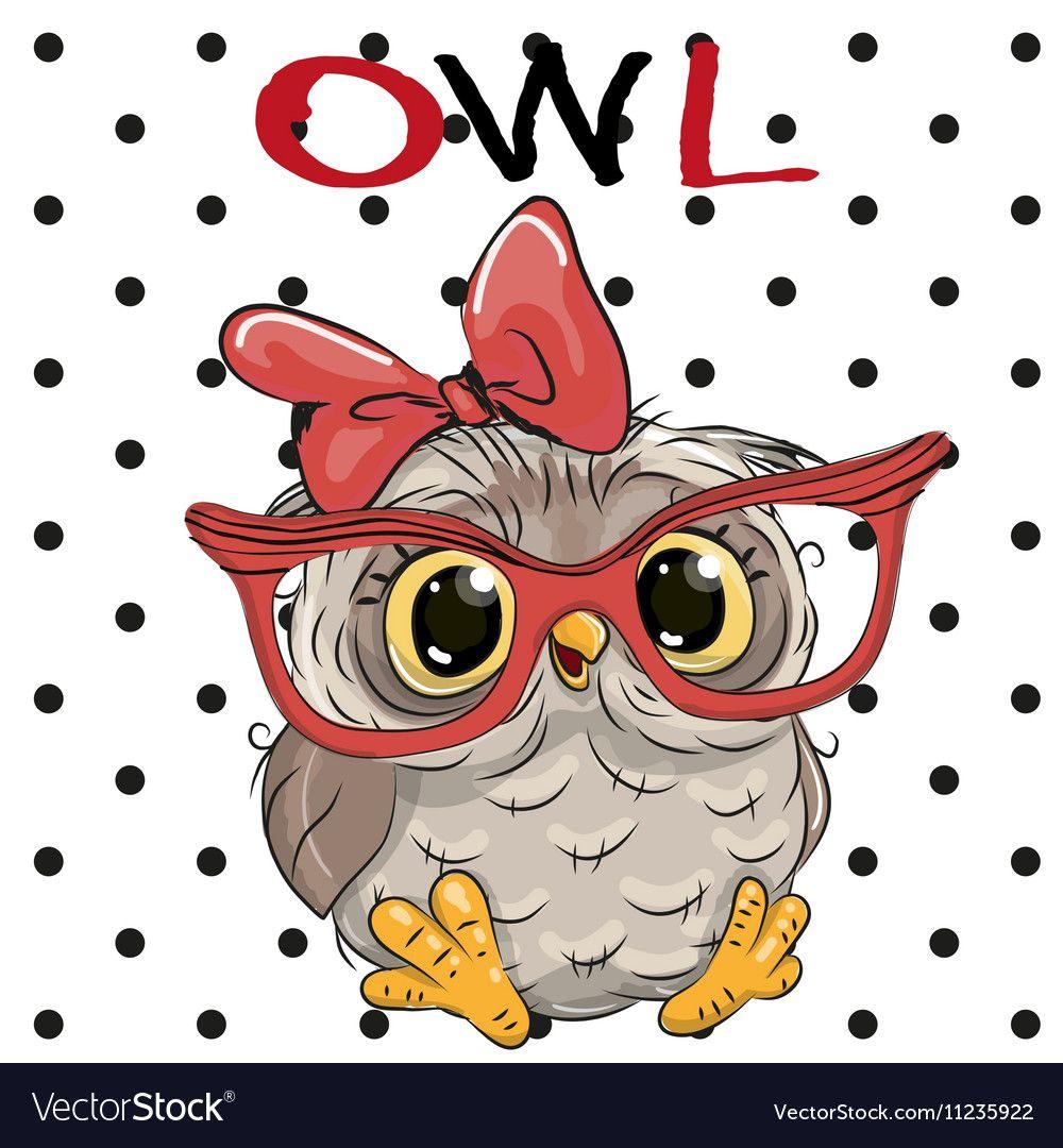 Cute Owl with glasses vector image on | Нарисовать сову ...