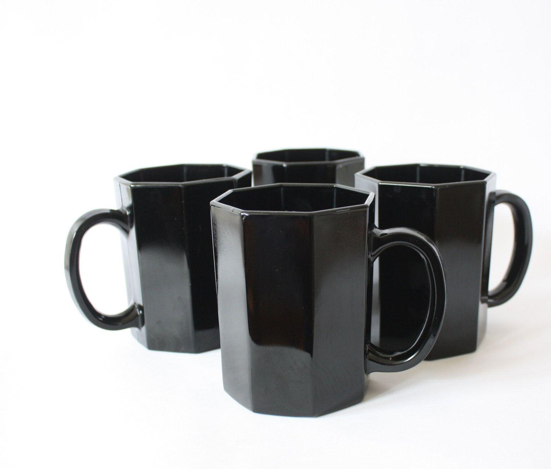 4 Arcoroc Octime Mugs, Four Black Coffee Cups, Octagon Geometric ...