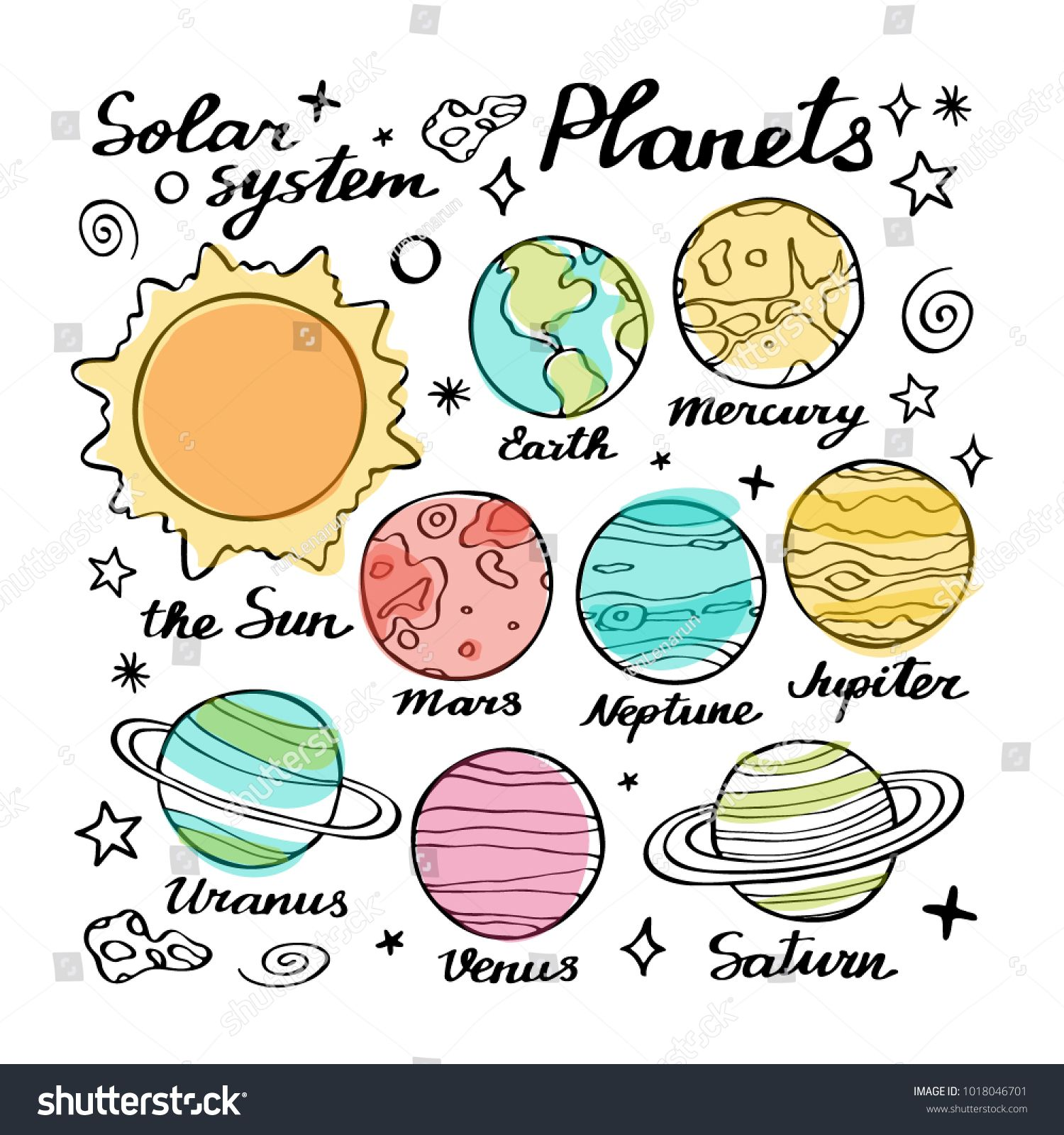 Planets Doodle Vector Set Hand Drawn Cartoon Collection