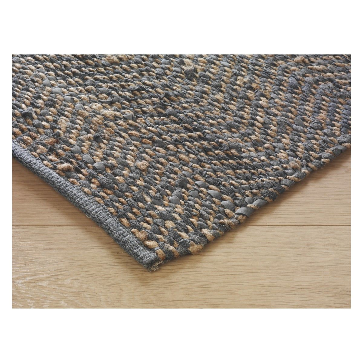 Hurley Large Grey Leather And Jute Rug 170 X 240cm Jute Rug Rugs Grey Leather