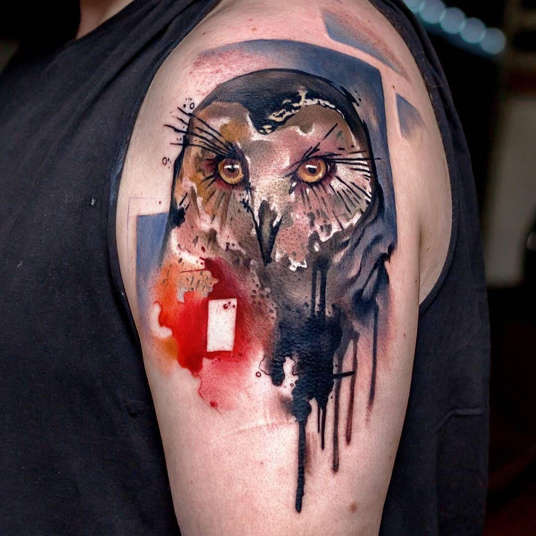 Watercolor owl done at Mahakala tattoo | Animal Tattoo Designs ...