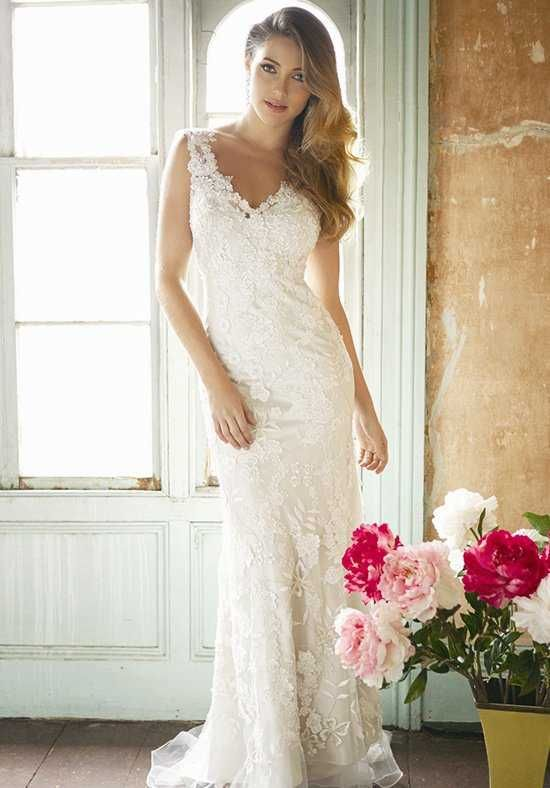 Sheath dress features a V-neckline and lace overlay adorned with embroidery and crystals   Allure Bridals   8800   http://knot.ly/64948HoJy