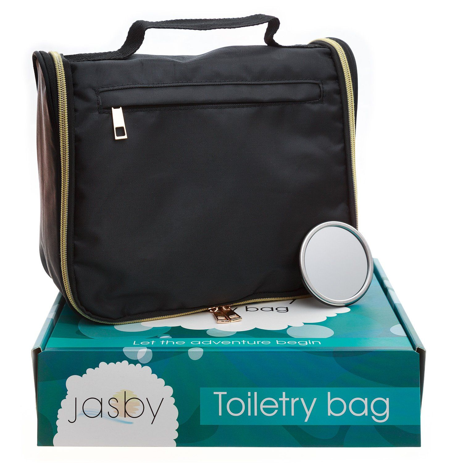 Jasby Hanging Travel Toiletry Bag Organizer Pocket Mirror For Men And Women Durable Zippers Roomy Compartments Mesh Pockets Cosmetics Pills