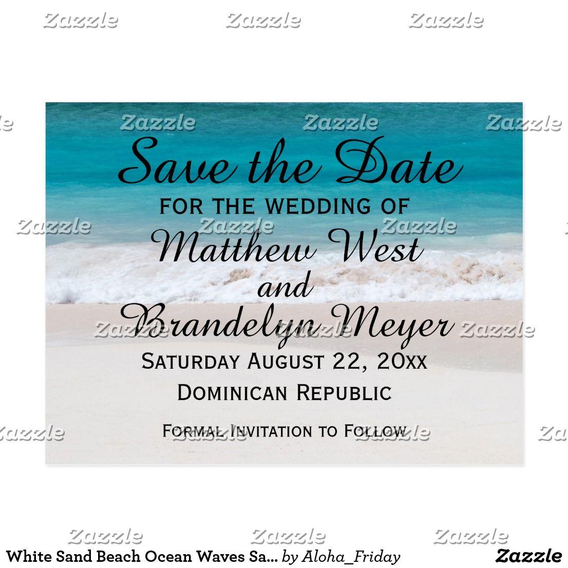 White Sand Beach Ocean Waves Save the Date Wedding Postcard