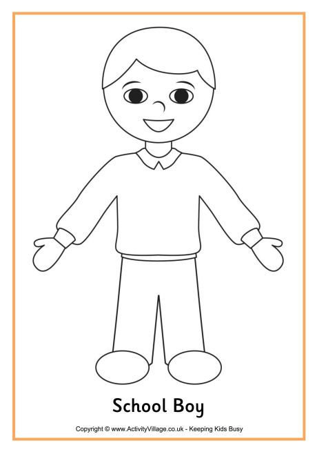 School Boy Colouring Page