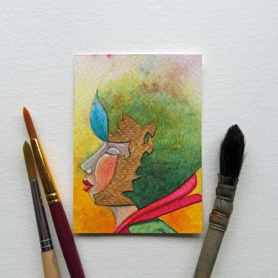 Original Aquarell Miniaturmalerei ACEO - La Dame 010 mandyvangoeije