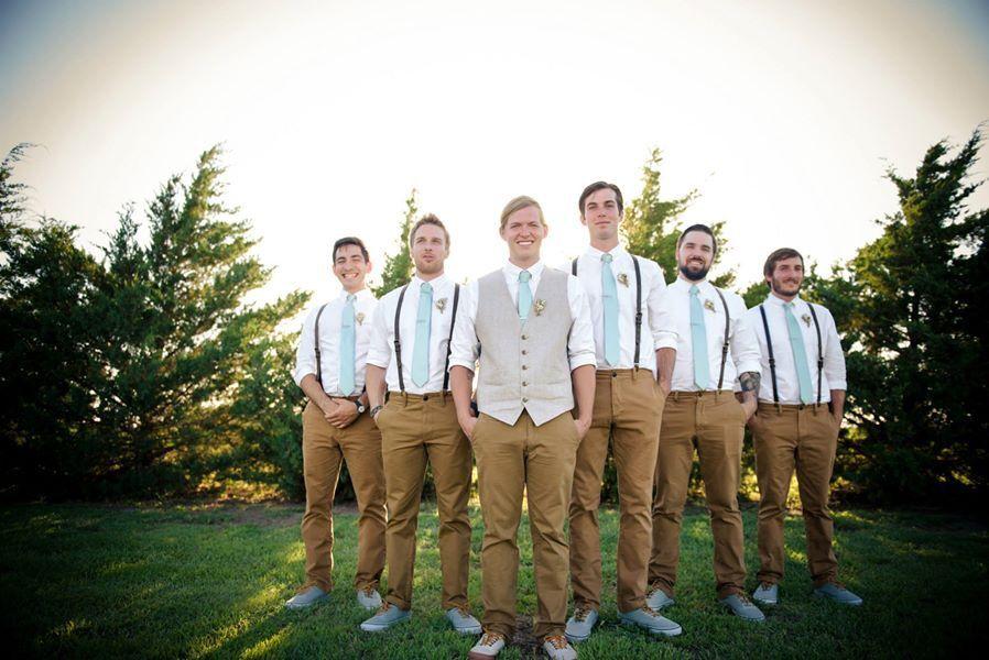 Groomsmen Leather Suspenders Sage Green Tie Vest Vans Shoes