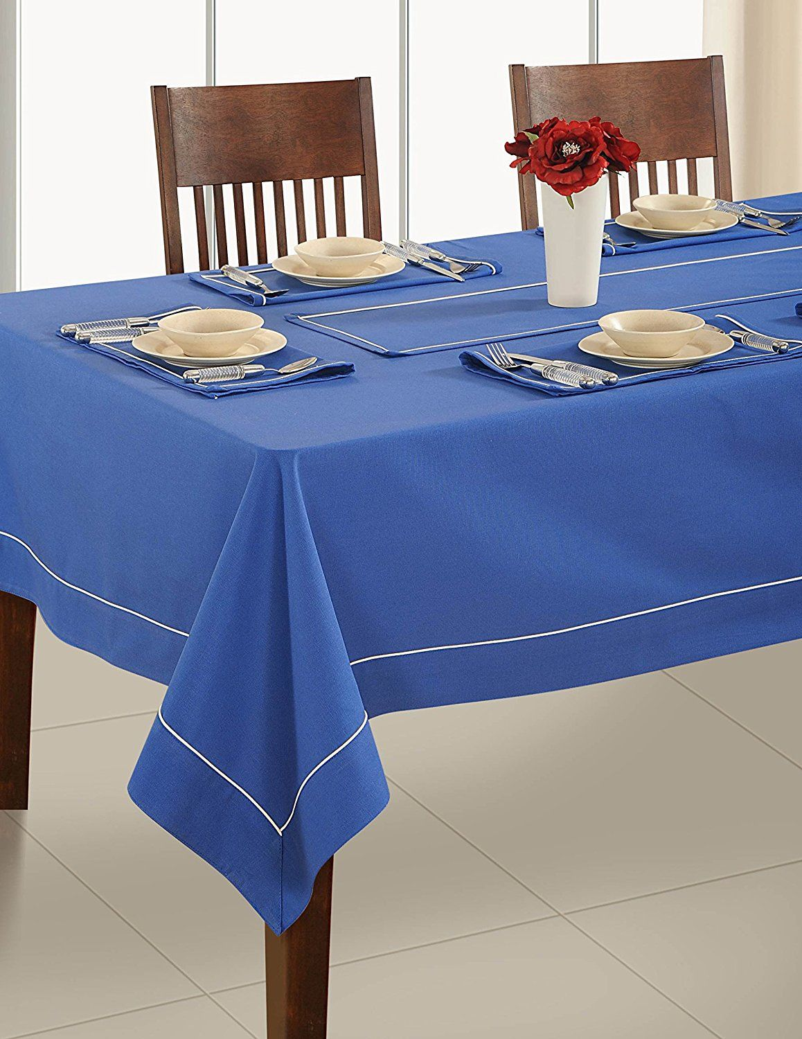 Ink Blue Table Linen 4 Seater Square Tablecloth  Premium Cotton Fabric 60 X  60 Inch