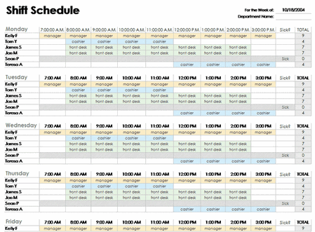 Excel Employee Schedule Template free download | schedules staff ...