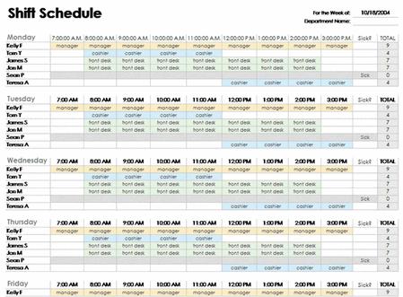 employee schedule spreadsheet