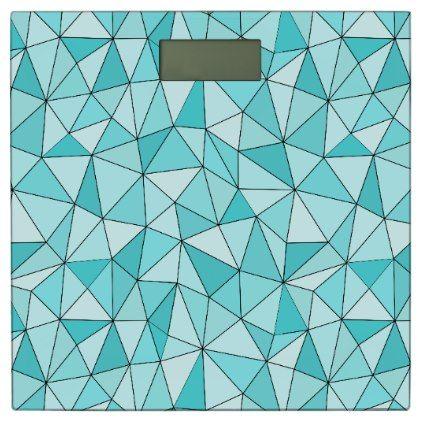 geometric cyan triangles modern bathroom scale