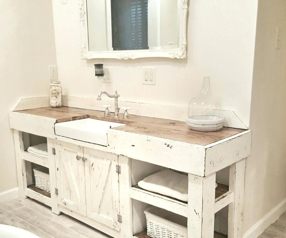 Farmhouse Bathroom Vanity Sinks Bathrooms Design Narrow Vanities Distressed Style Sink Bath