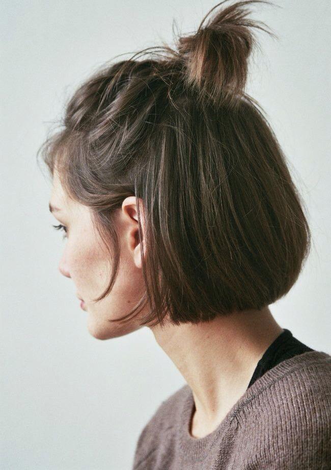 Demie queue Coiffures cheveux courts, Cheveux coiffure