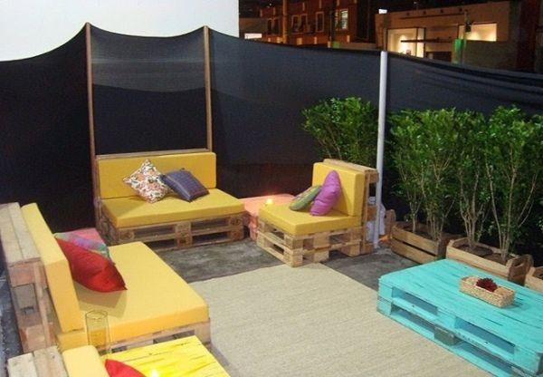 paletten-möbel selber bauen-polsterung balkonmöbel | garten,