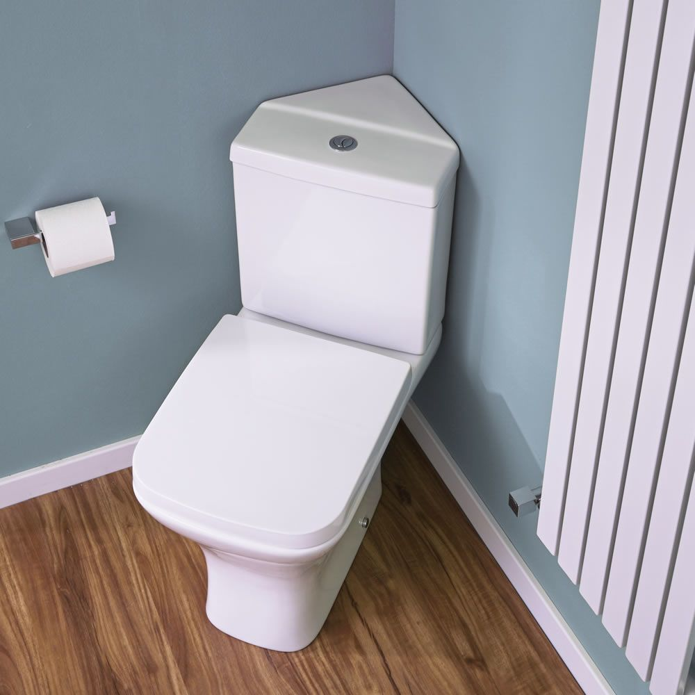 Harrison Corner Toilet with Soft Close Seat. RAK Evolution 4 Piece Suite   Corner Toilet   Basin   Corner