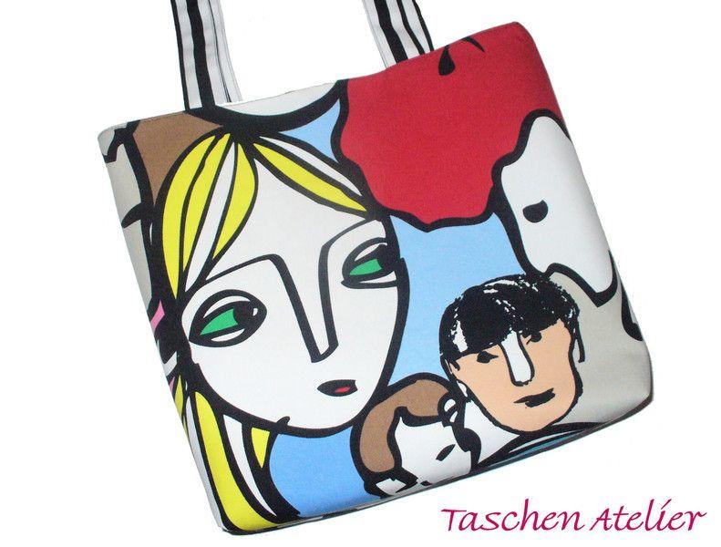 Schultertasche+Shopper+POP+ART+von+Taschen-Atelier+auf+DaWanda.com