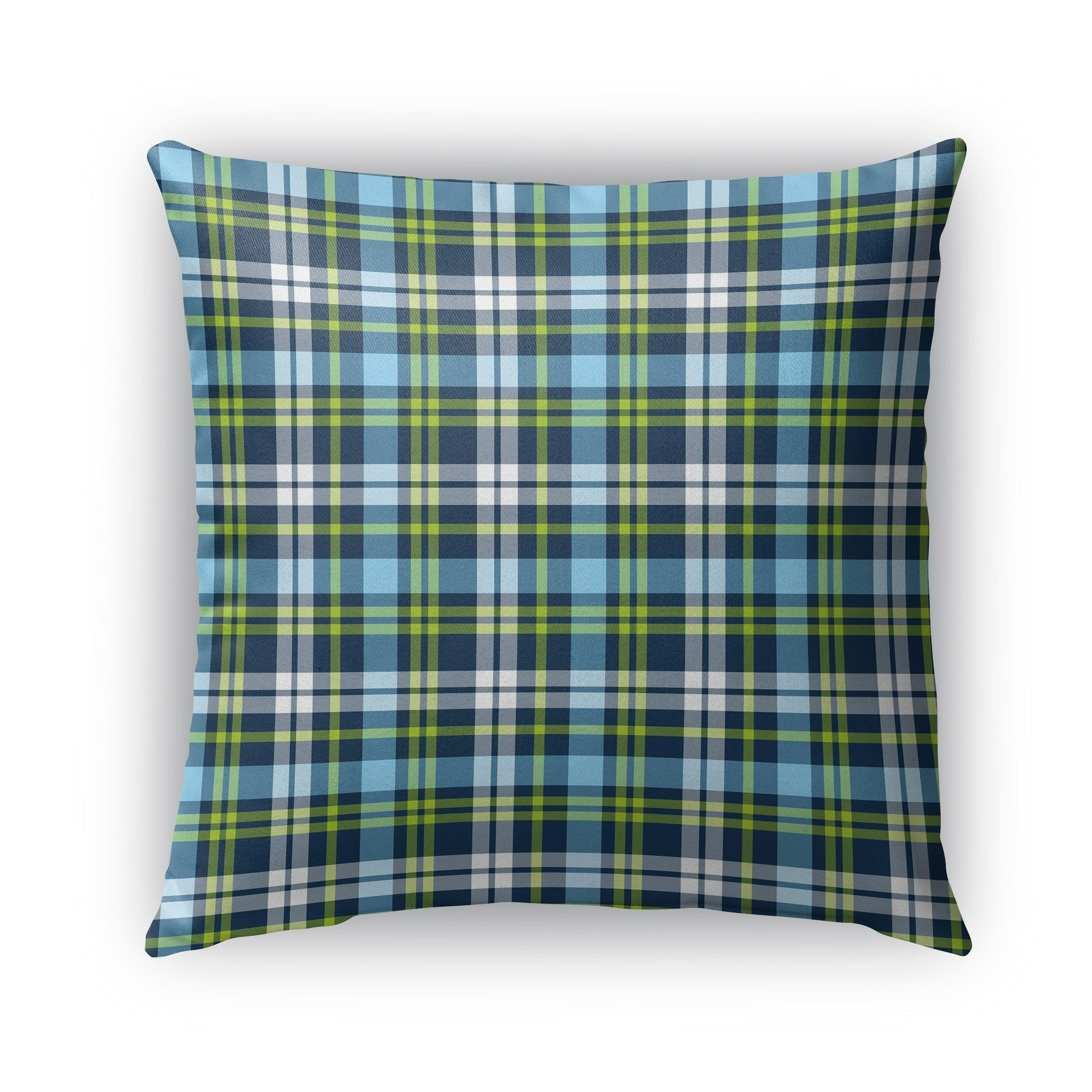Kavka Designs Blue Green Plaid Navy Aqua Lime Outdoor Pillow With