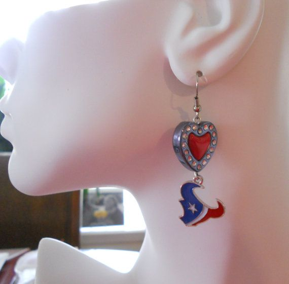 Houston Texans Crystal Heart Earrings