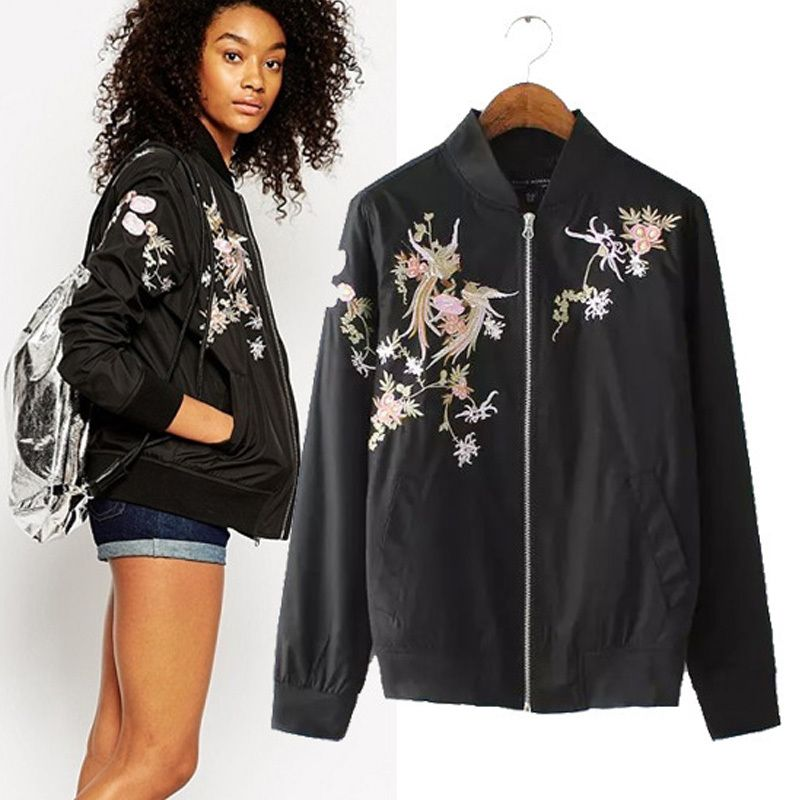 2015 New Arrival Autumn Fall Clothes Women Black Floral Bomber Jacket Sport  Jackets Casual Flower Embroidered - 2015 New Arrival Autumn Fall Clothes Women Black Floral Bomber
