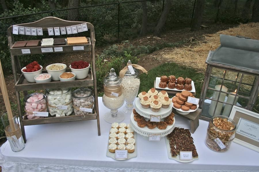 Chili Under the Oaks party - cute party theme and tablescapes - s'mores, sweets, baked potatoes with toppings, chili, cheese table