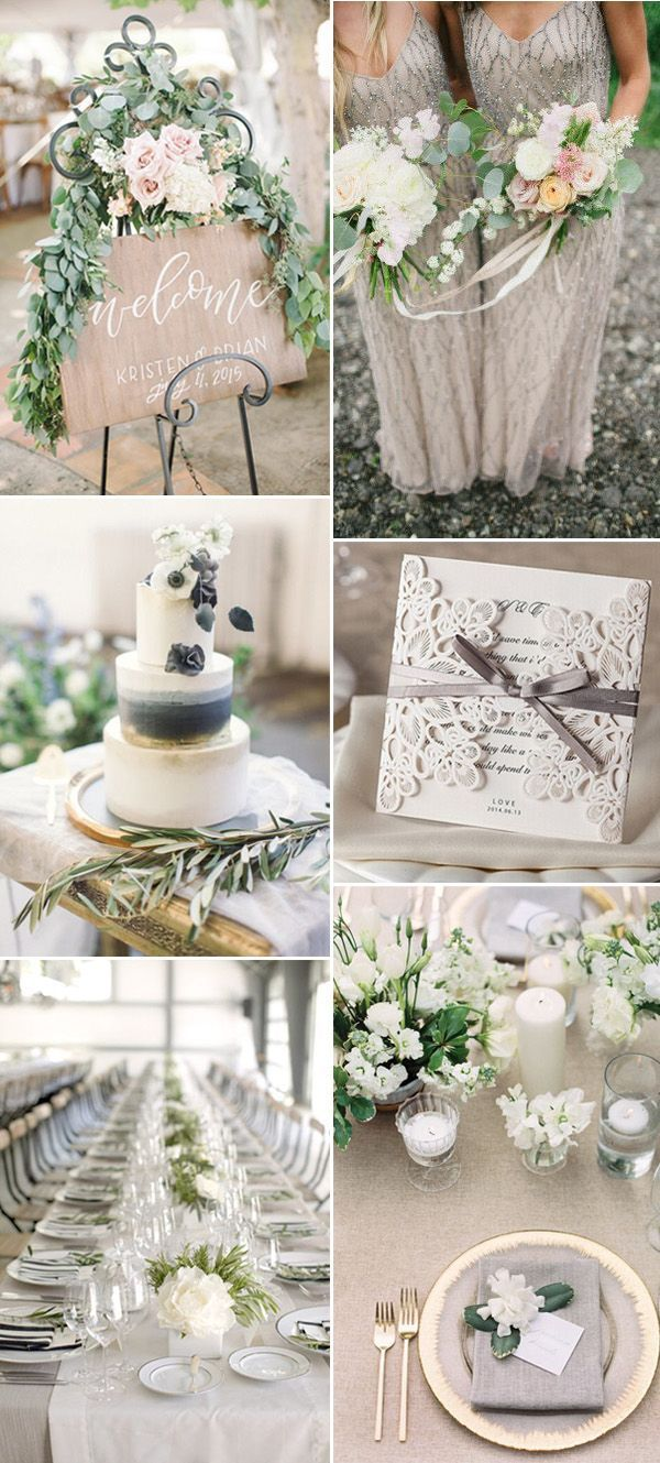 Wedding decoration ideas colors  Neutral Wedding Color Ideas for  Trends  Green weddings Gray
