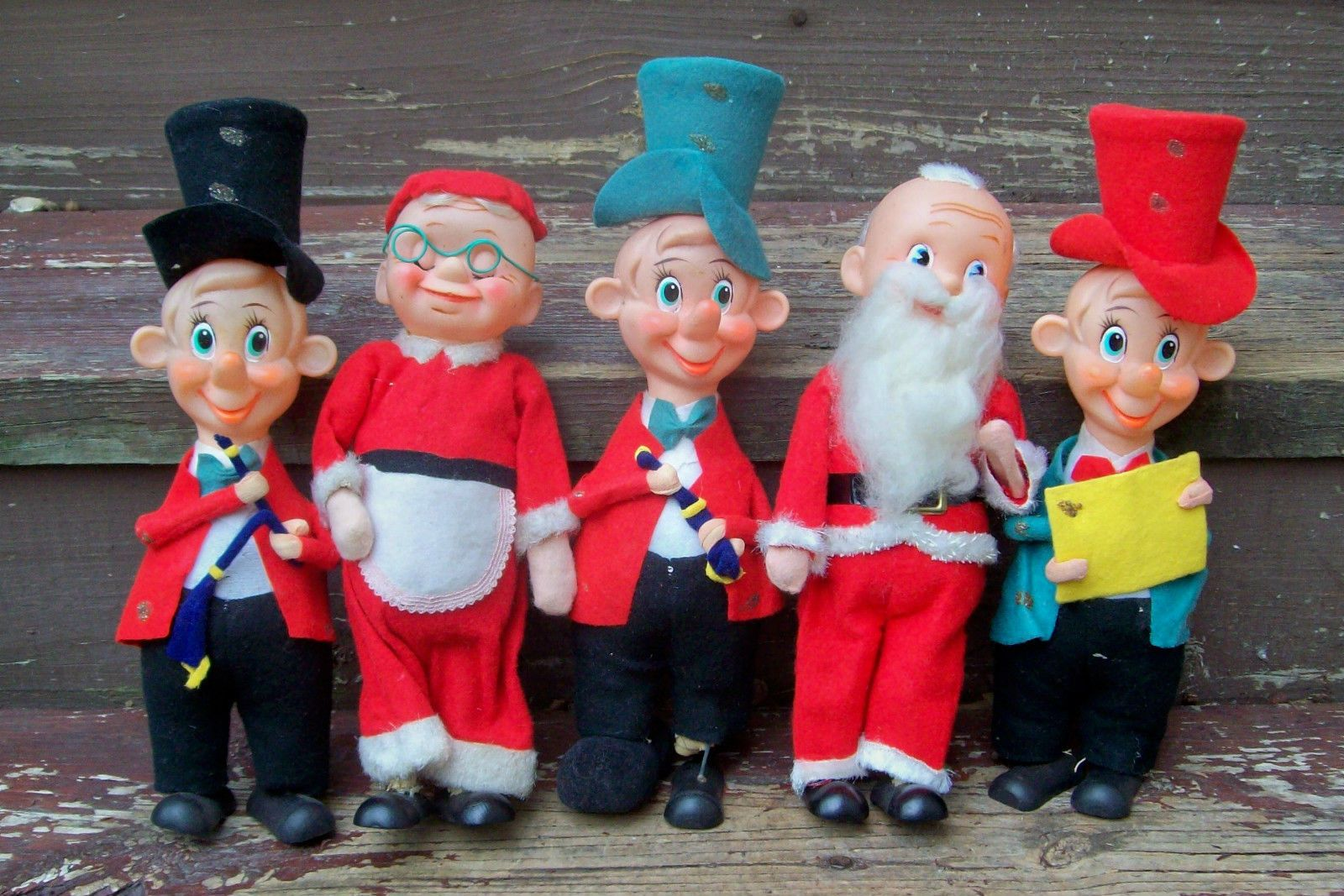 Mr and mrs claus ornaments - Vintage Caroler Band Mr Mrs Claus Santa Felt Doll Ornaments Noel Japan 11in Ebay