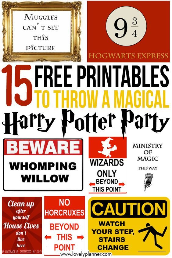 15 Free Harry Potter party printables part 1 Harry