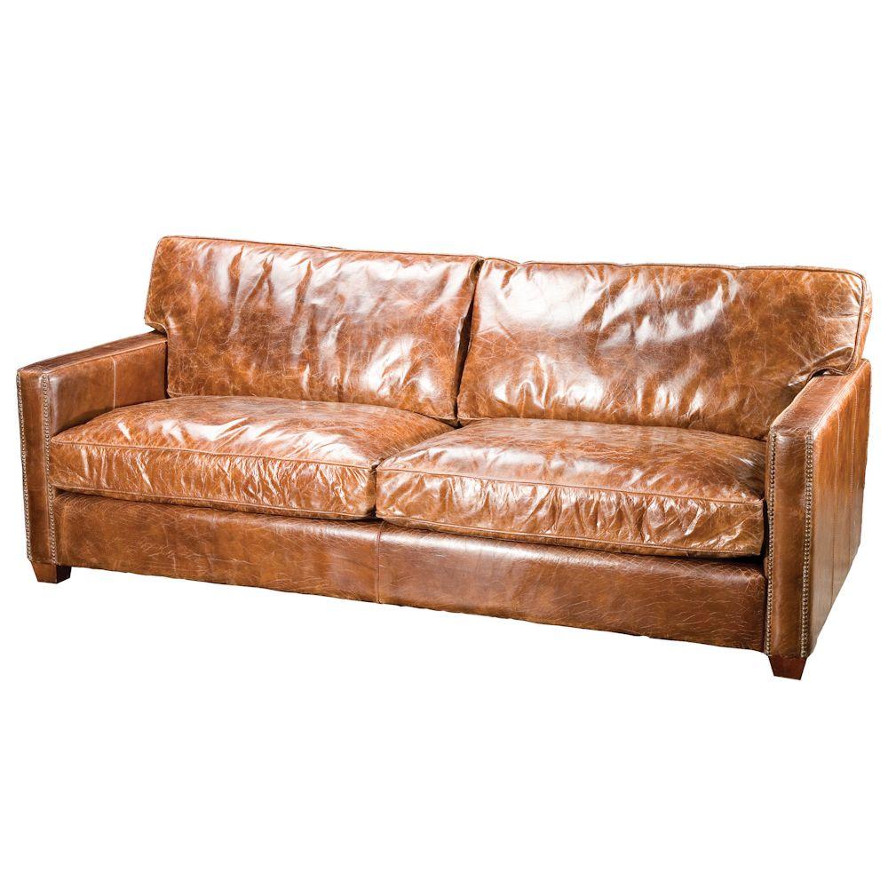 Four Hands Carnegie Larkin Three Seater Sofa Ikea Leather Sofa, Distressed Leather  Sofa, Vintage