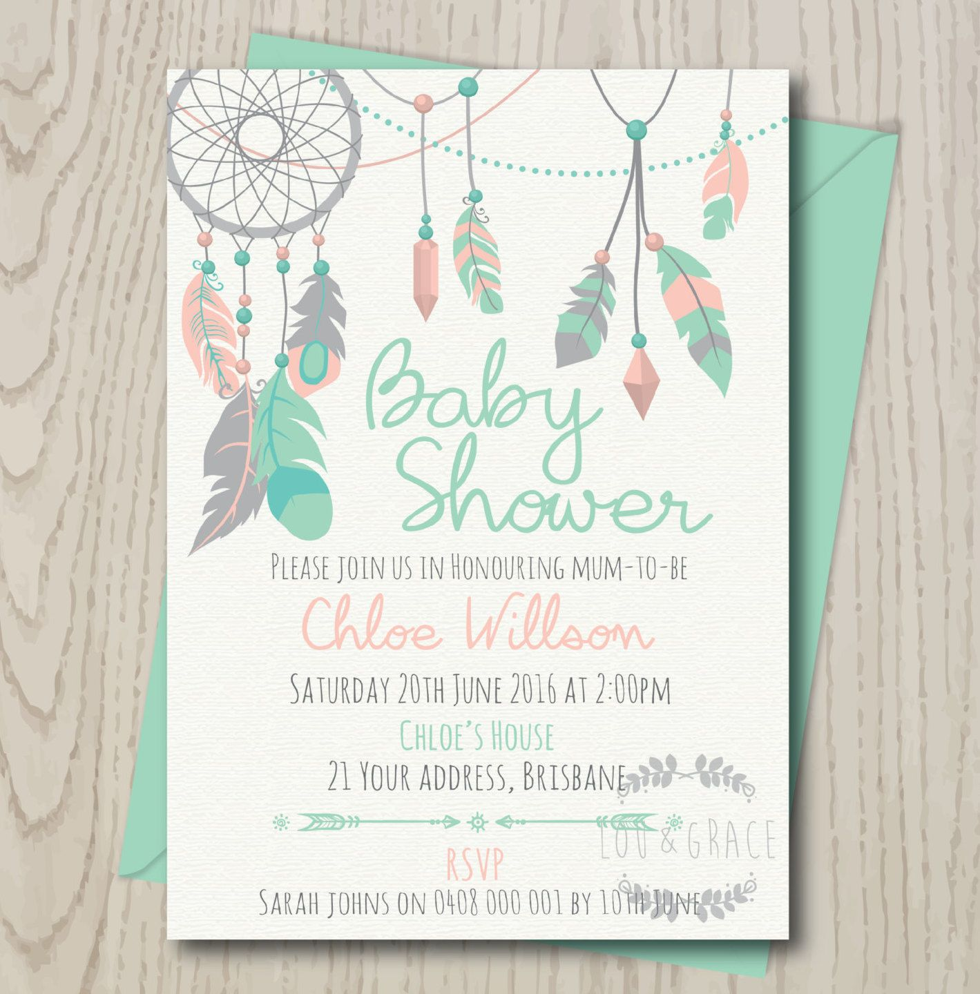 dream catcher baby shower invitation digital file boho baby shower