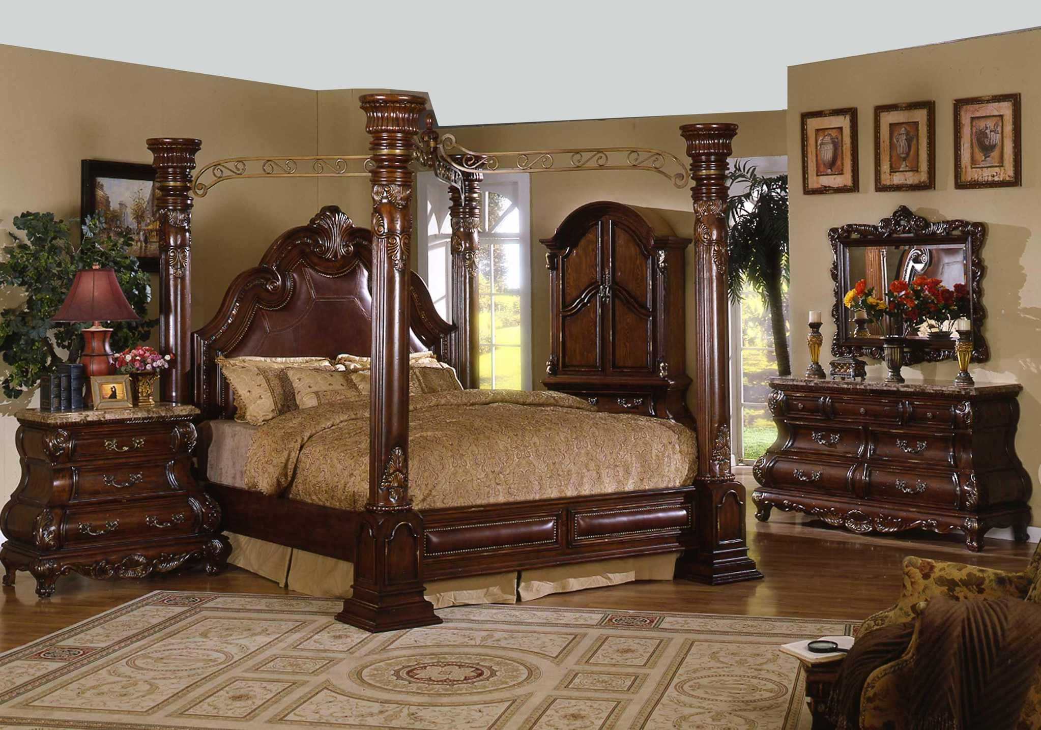 Beautiful Bedroom Set. Canopy Bed  Bedroom Sets Four Post 4734