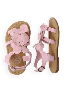 Little girls pink flower sandals