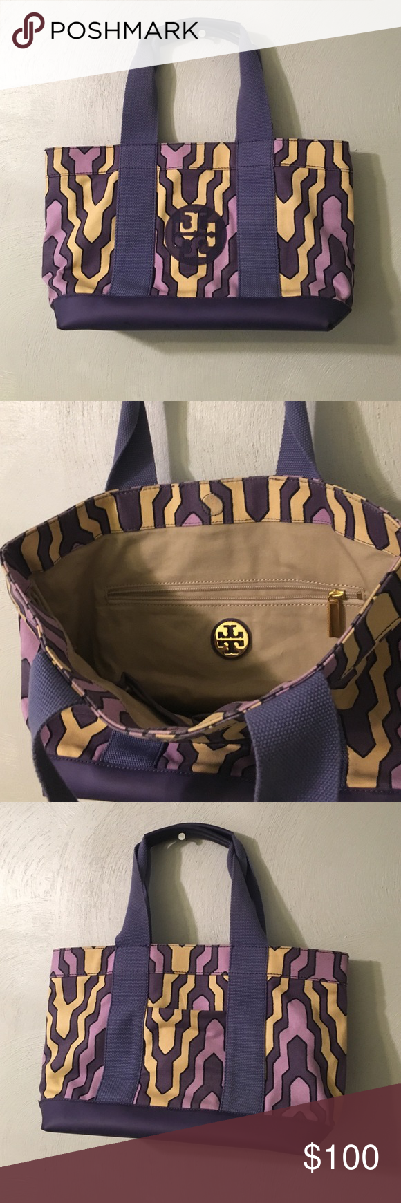 Tory Burch tote Barely used like new Tory Burch tote. Zipper pocket and cell pockets inside and one outside pocket. Tory Burch Bags