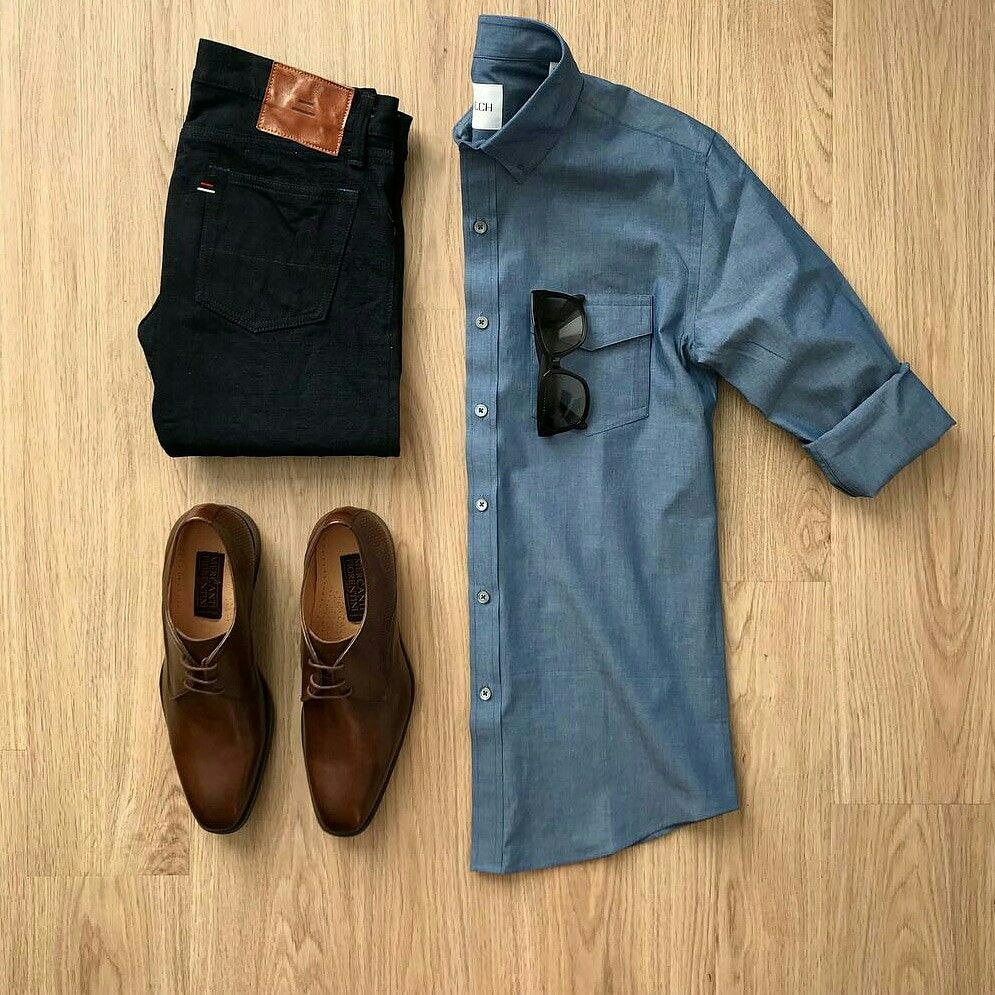 The best way to dress up for any occasion is by pairing a simple denim shirt with Denims !   Men Fashion ideas | men fashion outfit grid | flatlay ideas for Men | Casual wear for Men #outfitgrid