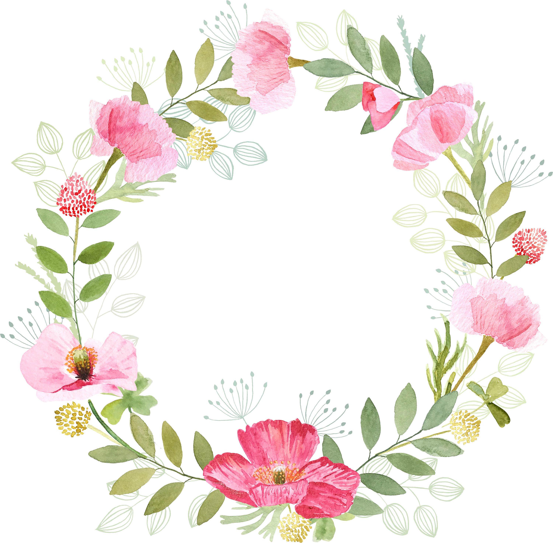 Couronne De Fleurs Peintes A La Main A L Aquarelle Coquelicots