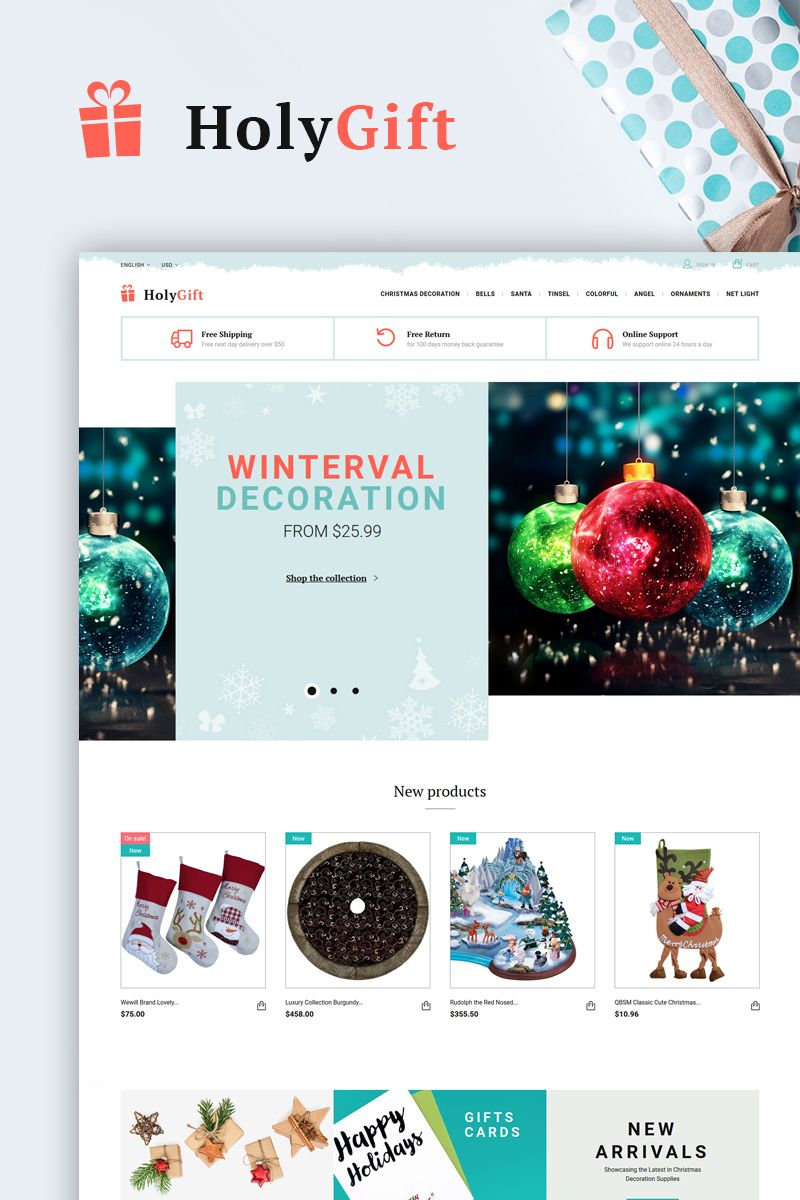 Looking for the theme where you can sell Christmas decorations of all kinds, from the smallest ornament to the tallest artificial Christmas tree and everything in between? HolyGift Template is what you need to create Christmas shop website. #html5 #htmltemplate #giftstemplate #prestashoptheme #giftswebsite #christmas2019 https://www.templatemonster.com/prestashop-themes/responsive-prestashop-theme-66325.html/