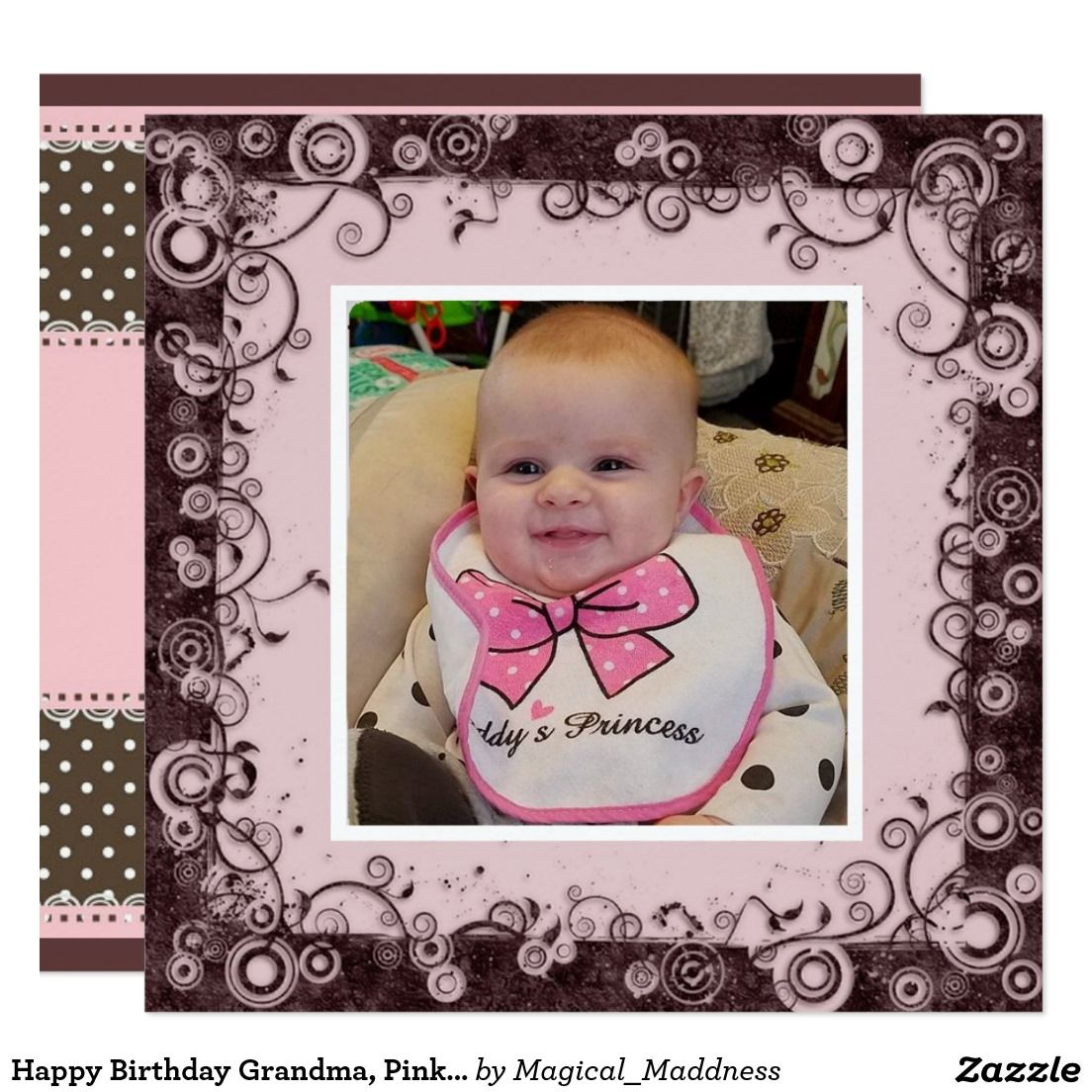 Happy birthday grandma pink and brown birthday for baby