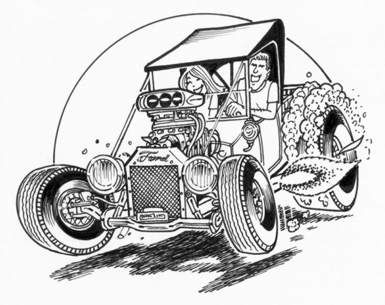 hot rod drawing