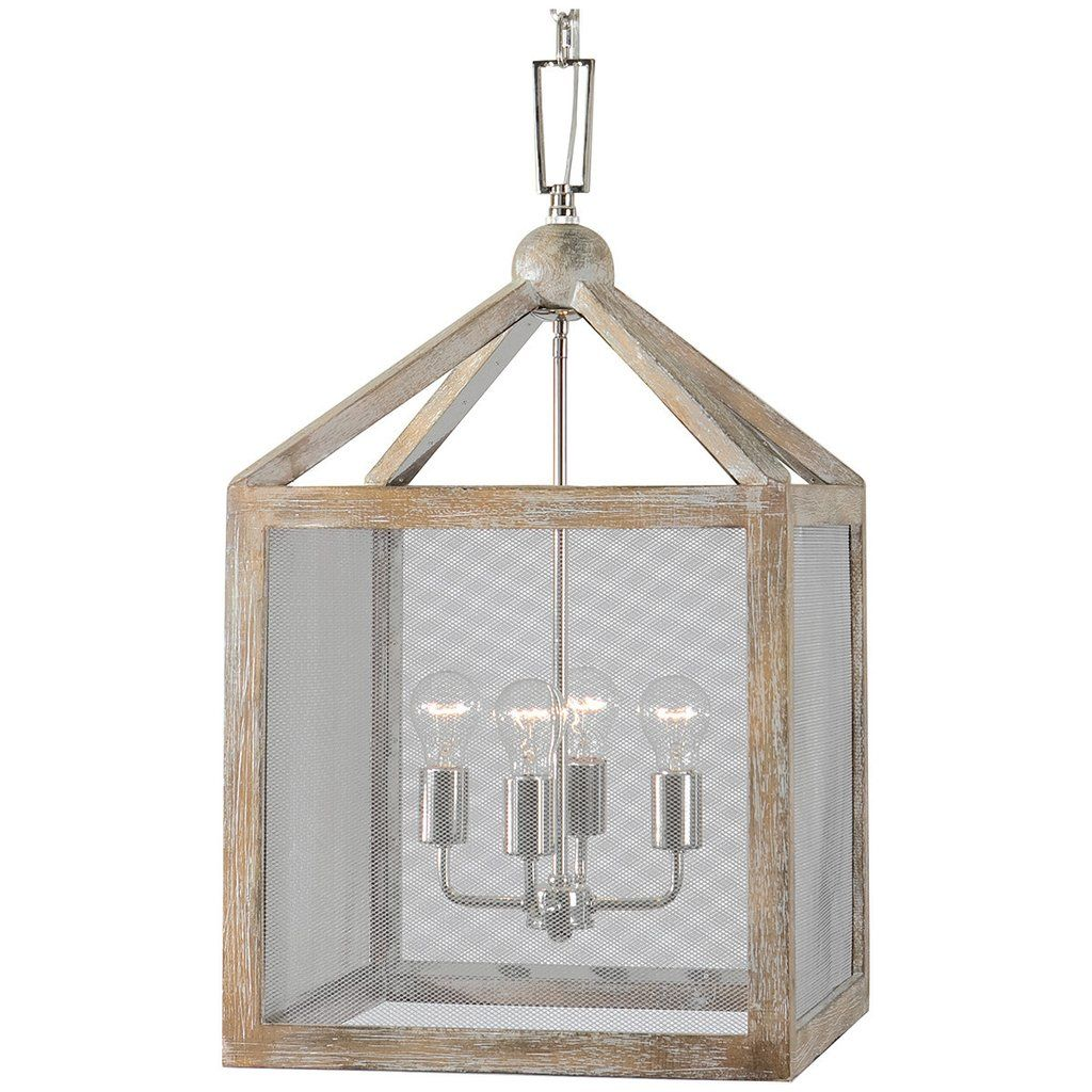 Uttermost nashua light wooden lantern pendant lake house