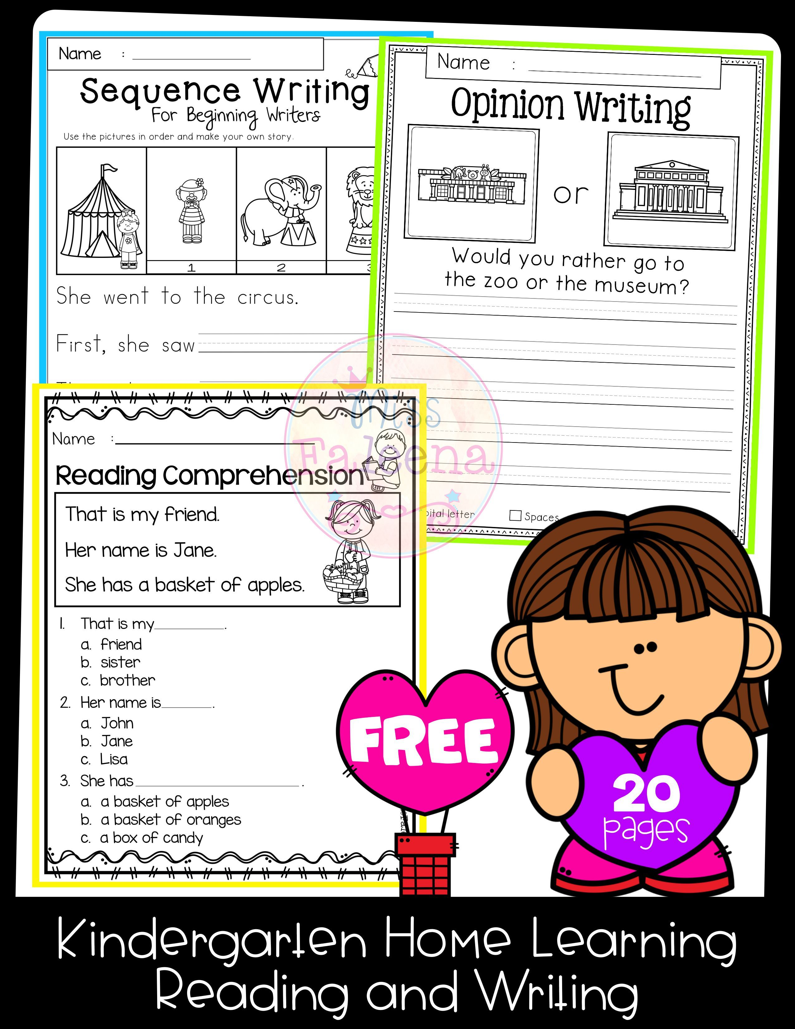 Free Kindergarten Home Learning Reading Comprehension Kindergarten Kindergarten Writing Kindergarten Lessons [ 3300 x 2550 Pixel ]