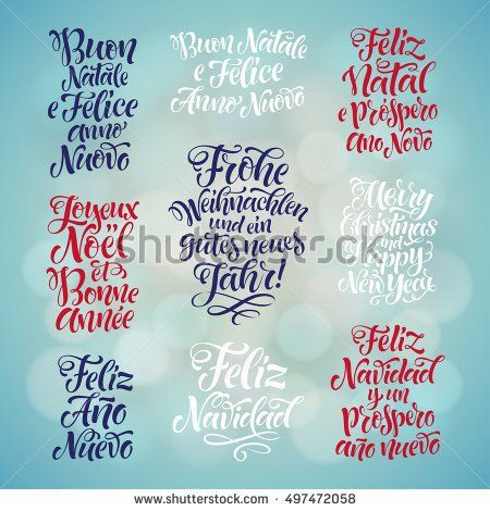 And Happy New Year Lettering Set In Different Languages