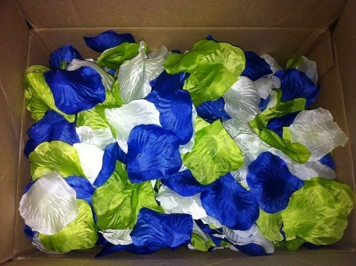 Royal Blue And Lime Green Wedding Invitations: Lime Green White And Blue Mixed Up Color Nylon Flower