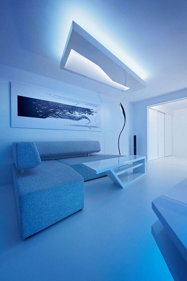 Renovated white apartment with futuristic interior design ...