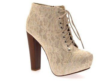 6c2128d7aa7 NEW WOMENS LADIES LACE UP PLATFORM WOODEN BLOCK WOOD HIGH HEEL BOOTIES  ANKLE BOOTS SHOES BEIGE LACE 5  Amazon.co.uk  Shoes   Bags £20