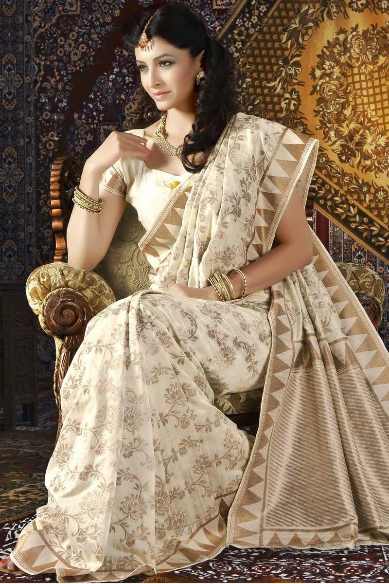 Yellow silk saree beige yellow benarasi silk embroidered party and festival saree