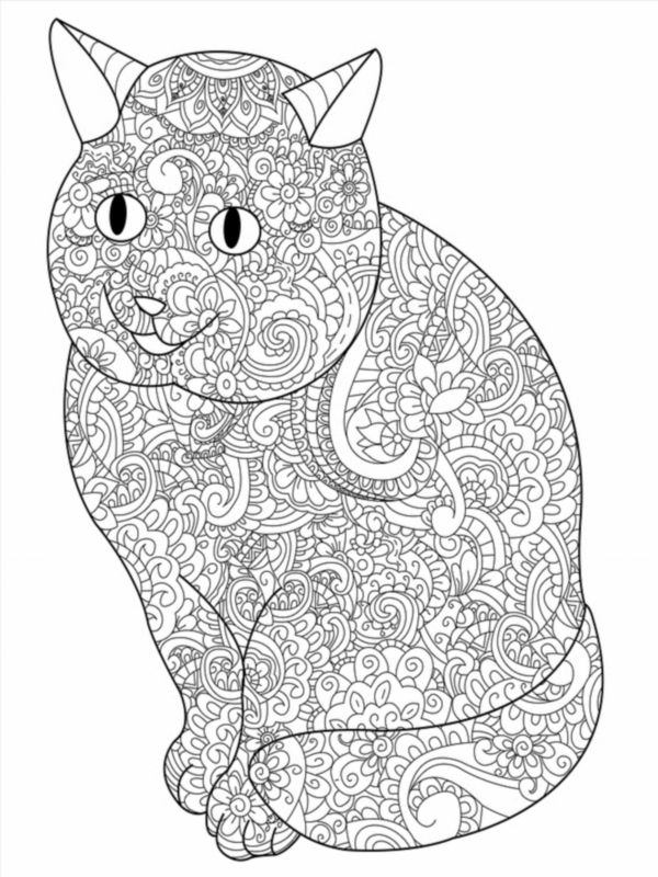 Cat Animal Coloring Book For Adults Vector Illustration Anti Stress Adult Zentangle Style Black And White Lines Lace Pattern Poster