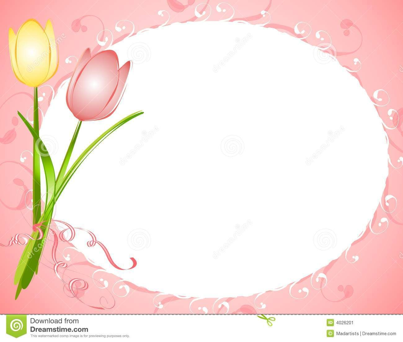 Pink Oval Tulips Flower Frame Border Flower Frame Tulips Flowers Flower Border