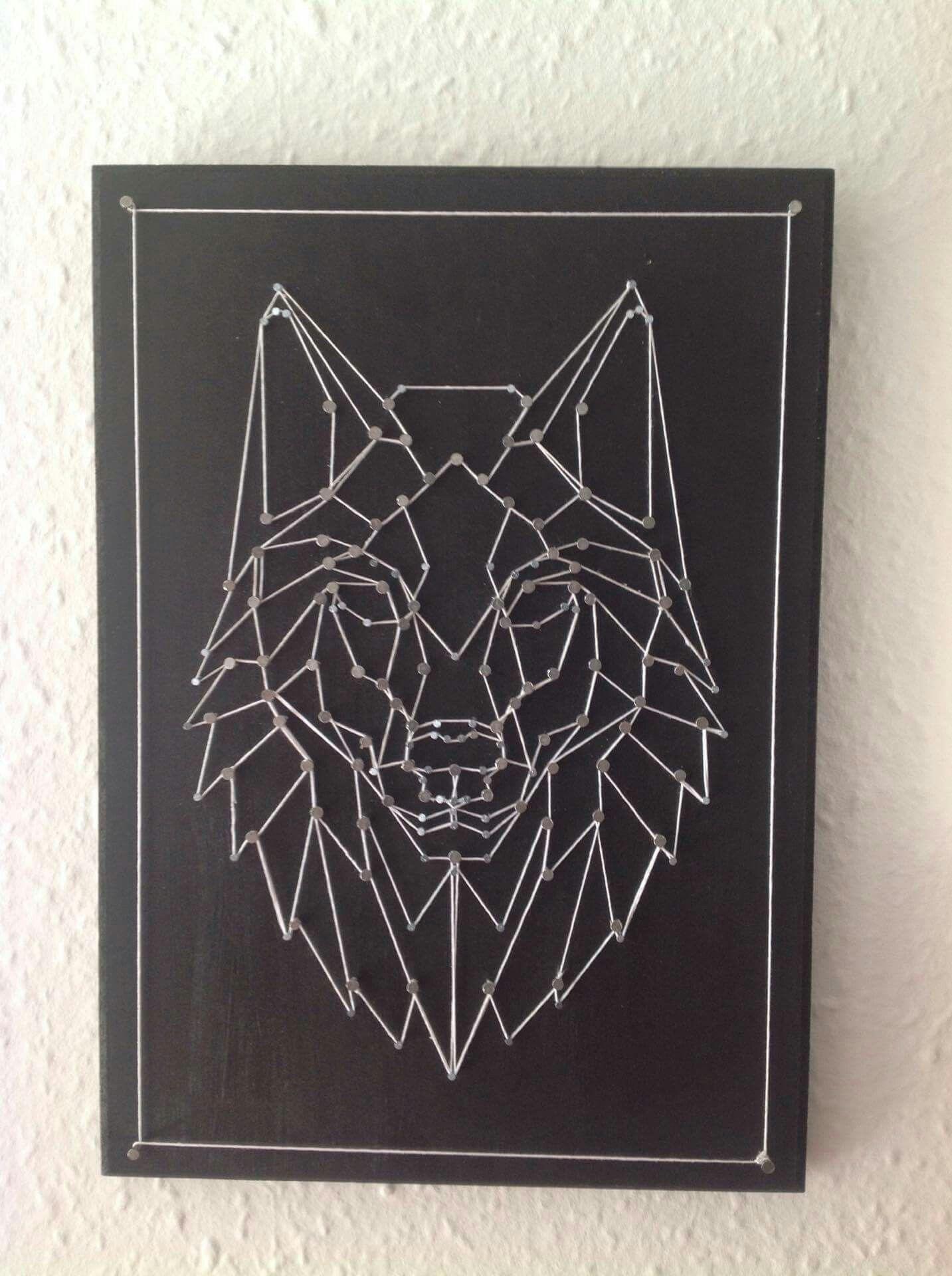 Wolf string art | macrame | String Art, String art ...