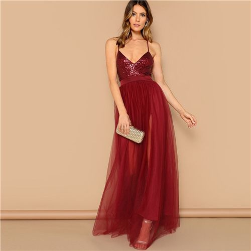 e4a38ebdc2 Shein Sexy Burgundy Crisscross Open Back Sequin Patched Strappy Long Dress  Women Summer Solid Fit And Flare Mesh Party Dresses