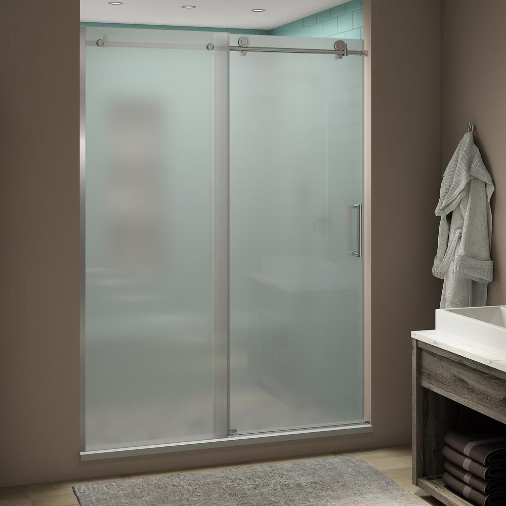 Aston Coraline Xl 44 48 In X 80 In Frameless Sliding Shower Door With Ultra Bright Frosted Glass In Polished Chrome Sdr984fruw Uc Ch 4880 The Home Depot In 2020 Frameless Sliding Shower Doors
