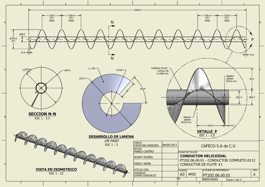 Conveyor Helix Plan (screw) | 3D CAD Model Library | GrabCAD